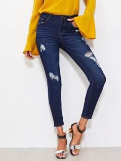 Dark Wash Shredded Jeans