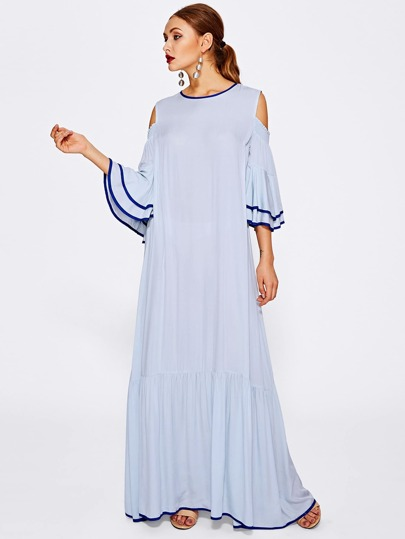 Contrast Binding Open Shoulder Layered Trumpet Sleeve Dress