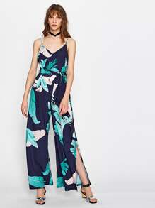 Palm Leaf Print V Back Slit Cami Jumpsuit