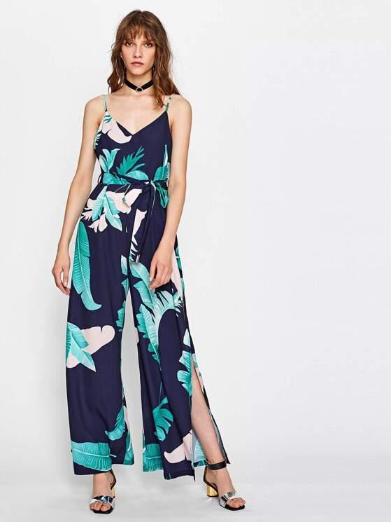 9090c26492 Palm Leaf Print V Back Slit Cami Jumpsuit