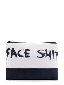 Two Tone Slogan Print Cosmetic Bag
