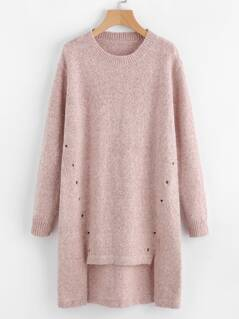 Eyelet Detail Stepped Hem Marled Knit Sweater Dress