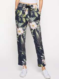 Flower Print Tapered Drawstring Pants
