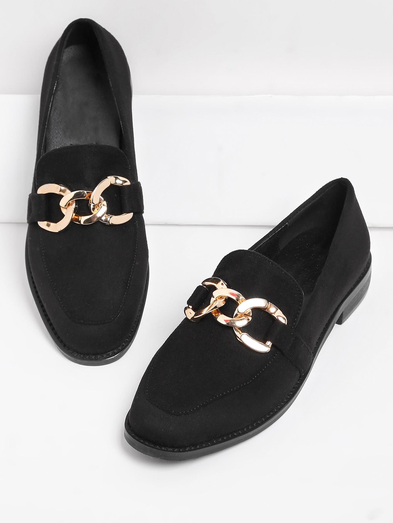 Metal Detail Almond Toe Flats