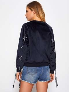 Grommet Lace Up Sleeve Suede Pullover