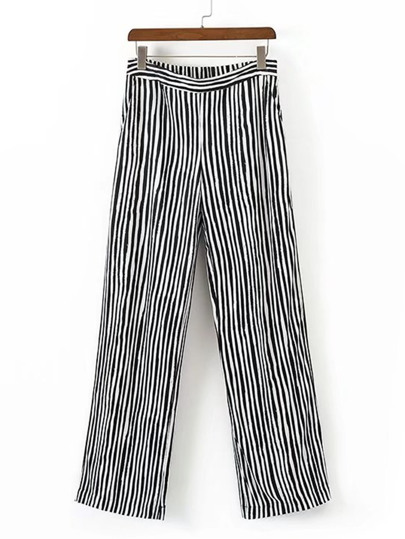 Vertical Striped Straight Leg Pants