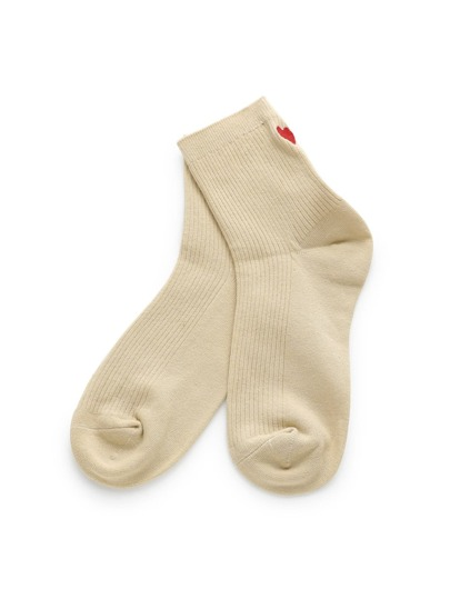 Heart Embroidery Back Calf Length Socks