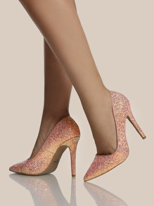 Glitter Point Toe Pumps PINK