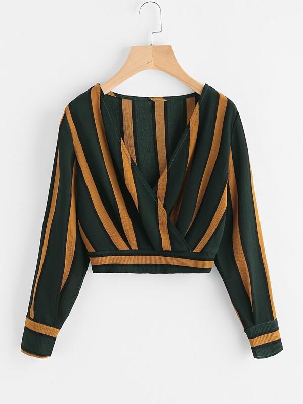 Striped Shirred Back Surplice Crop Top