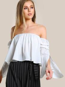 Split Fluted Sleeve Trapeze Bardot Top