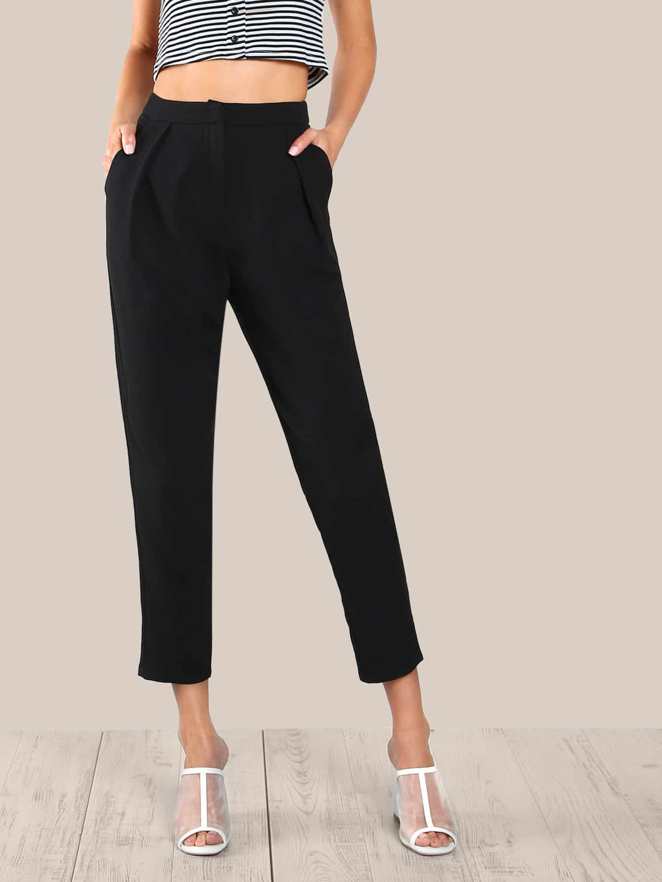 Fold Pleat Detail Peg Pants box pleat detail palazzo pants