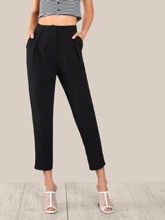Fold Pleat Detail Peg Pants