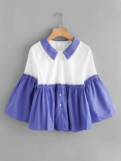 Double Collar Frill Trim Contrast Shirt