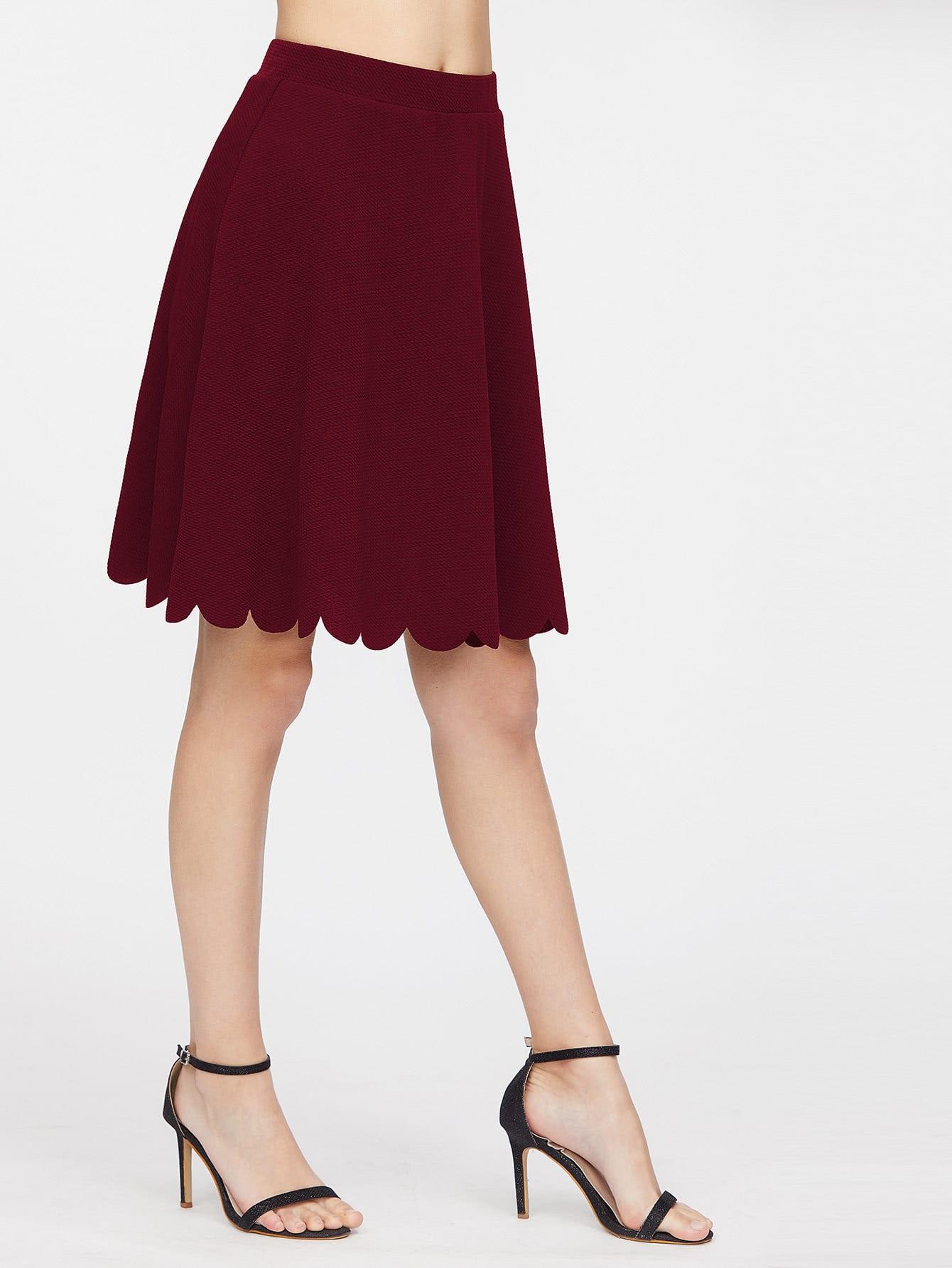 Elastic Waist Scallop Hem Textured Skirt elastic waist scallop ruffle hem pants