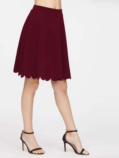 Elastic Waist Scallop Hem Textured Skirt