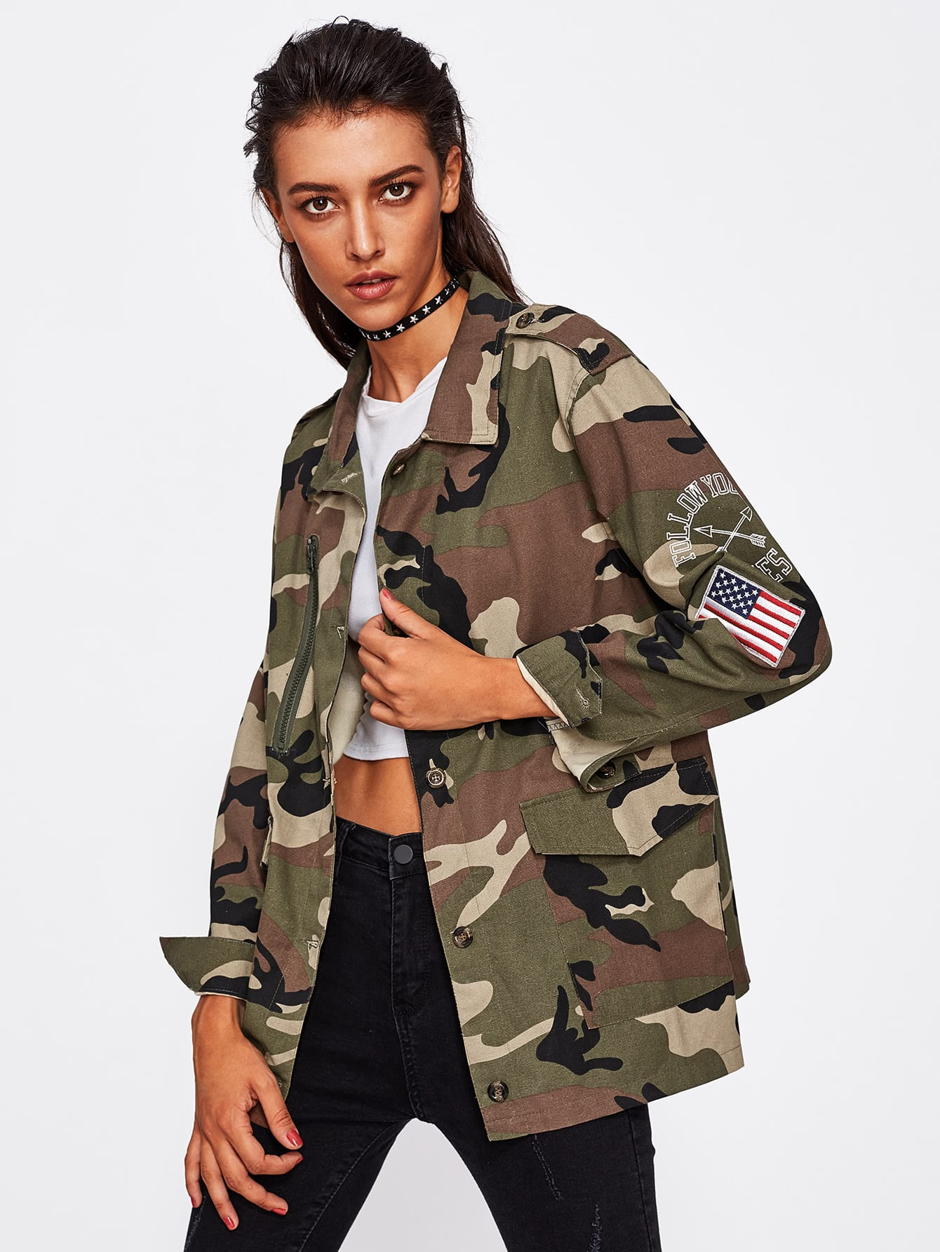 Image of Applique Sleeve Camouflage Jacket