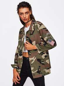 Applique Sleeve Camouflage Jacket