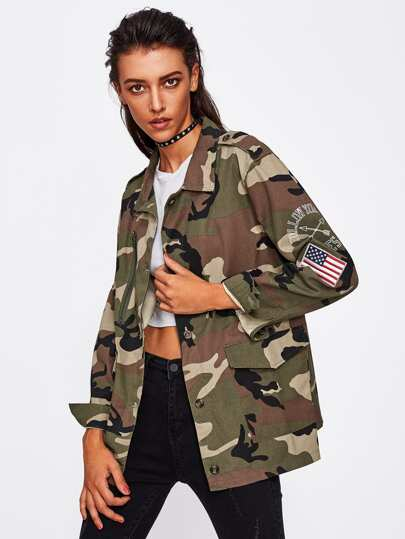Applique Sleeve Camouflage Jacket