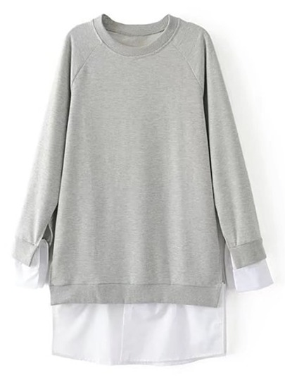 Sweat-shirt robe 2 en 1 manche raglan