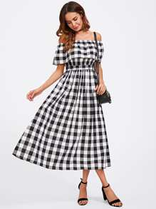 Flounce Bardot Gingham Dress