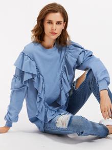 Raw Edge Flounce Trim Sweatshirt