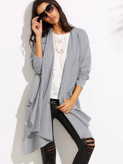 Heather Grey Drape Front Asymmetric Duster Coat