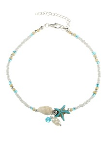 Starfish & Conch Detail Beaded Anklet
