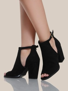 Peep Toe Zip Up Booties BLACK