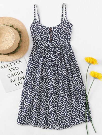 Ditsy Print Random Cami Dress