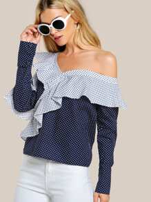Asymmetric Shoulder Flounce Detail Blouse