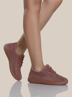 Mesh Knit Textured Sole Sneakers MAUVE
