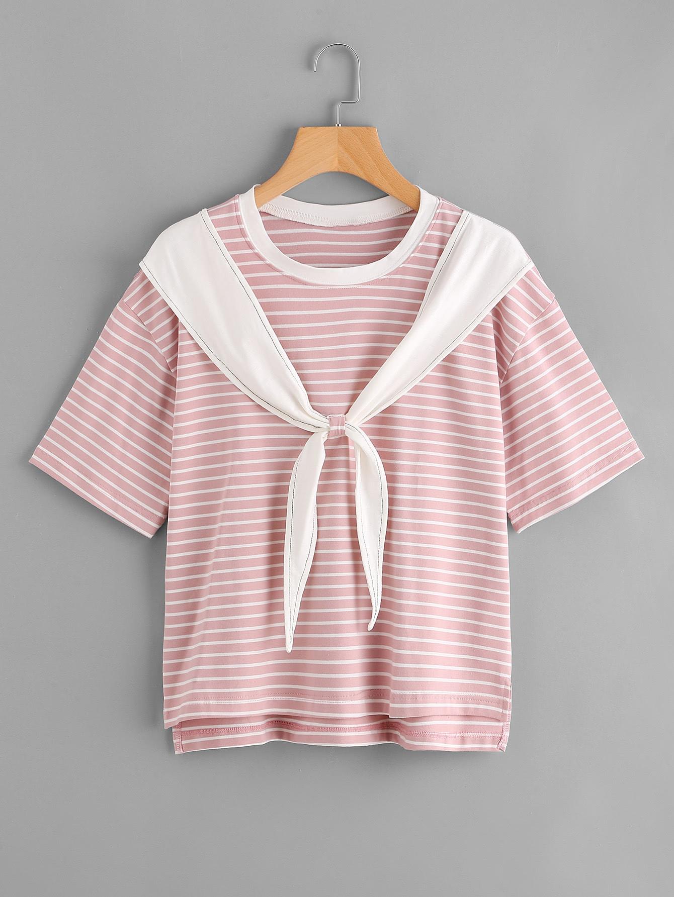 Tie Front Stepped Hem Sailor T-shirt tee170828452