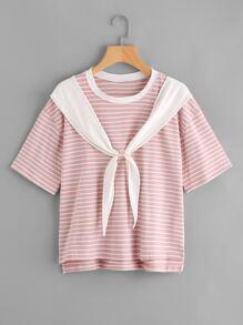 Tie Front Stepped Hem Sailor T-shirt
