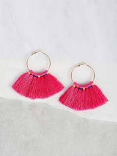 Colorful Tied Tassel Hoop Earrings FUSCHIA