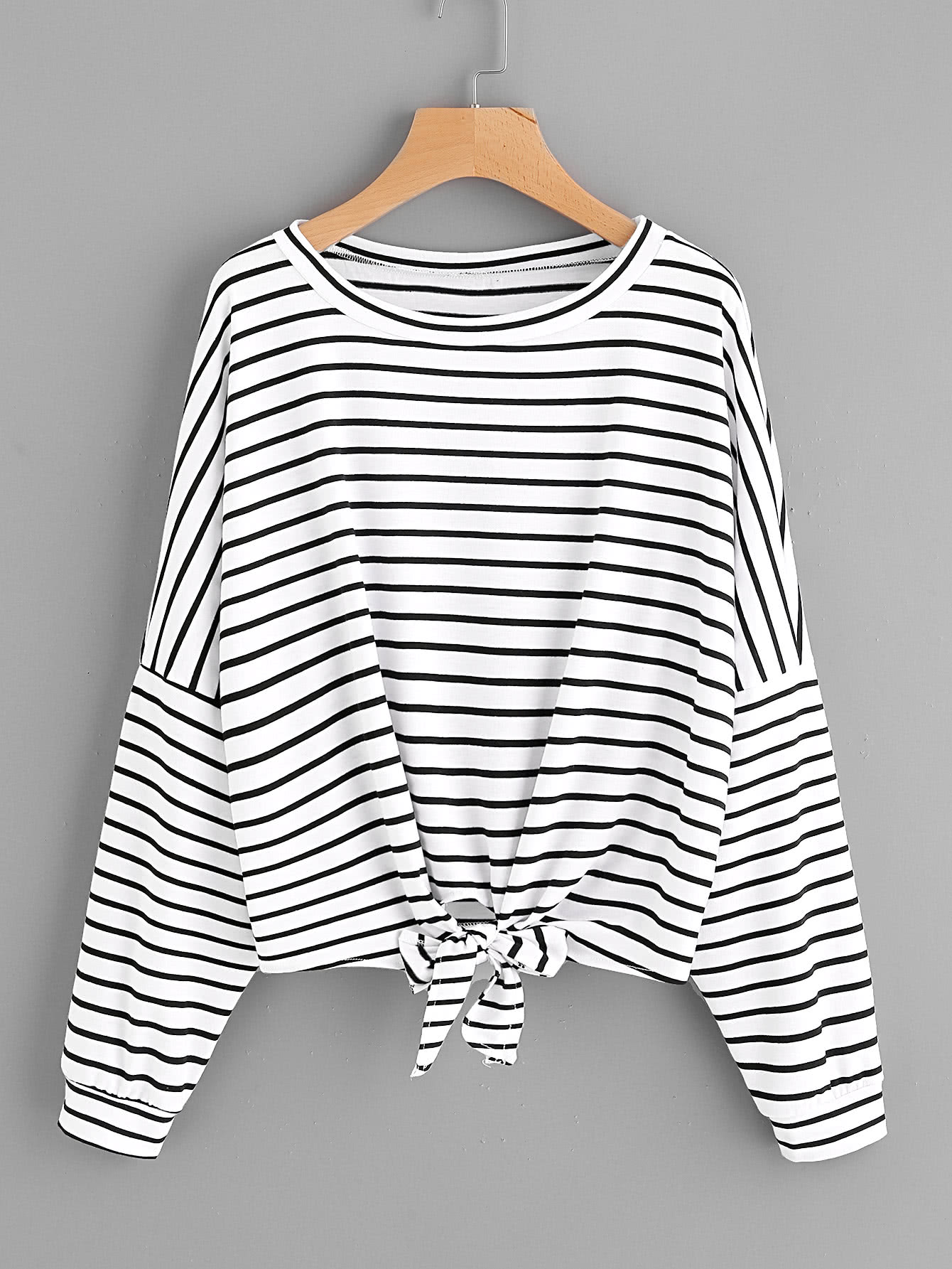 Striped Tie Front Drop Shoulder Tee drop shoulder two tone sleeve striped tee