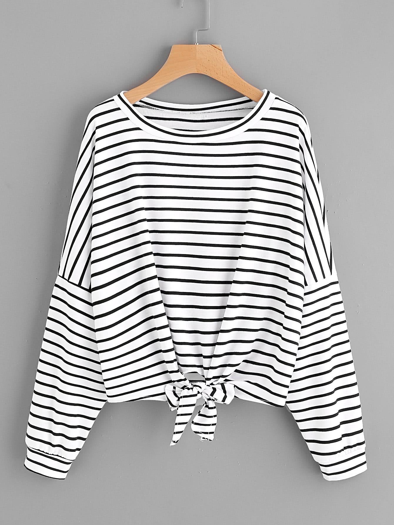 Striped Tie Front Drop Shoulder Tee bow tie front drop shoulder sweatshirt