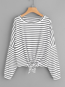 Camiseta de rayas con cordón en la parte delantera