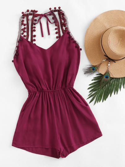 Embroidered Taped Pompom Trim Open Back Romper
