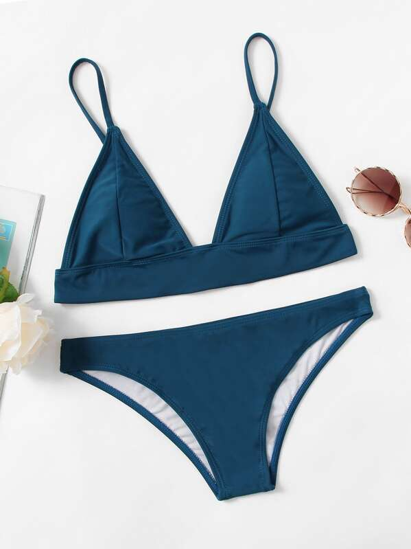 Hook Back Triangle Top With High Leg Bikini Set