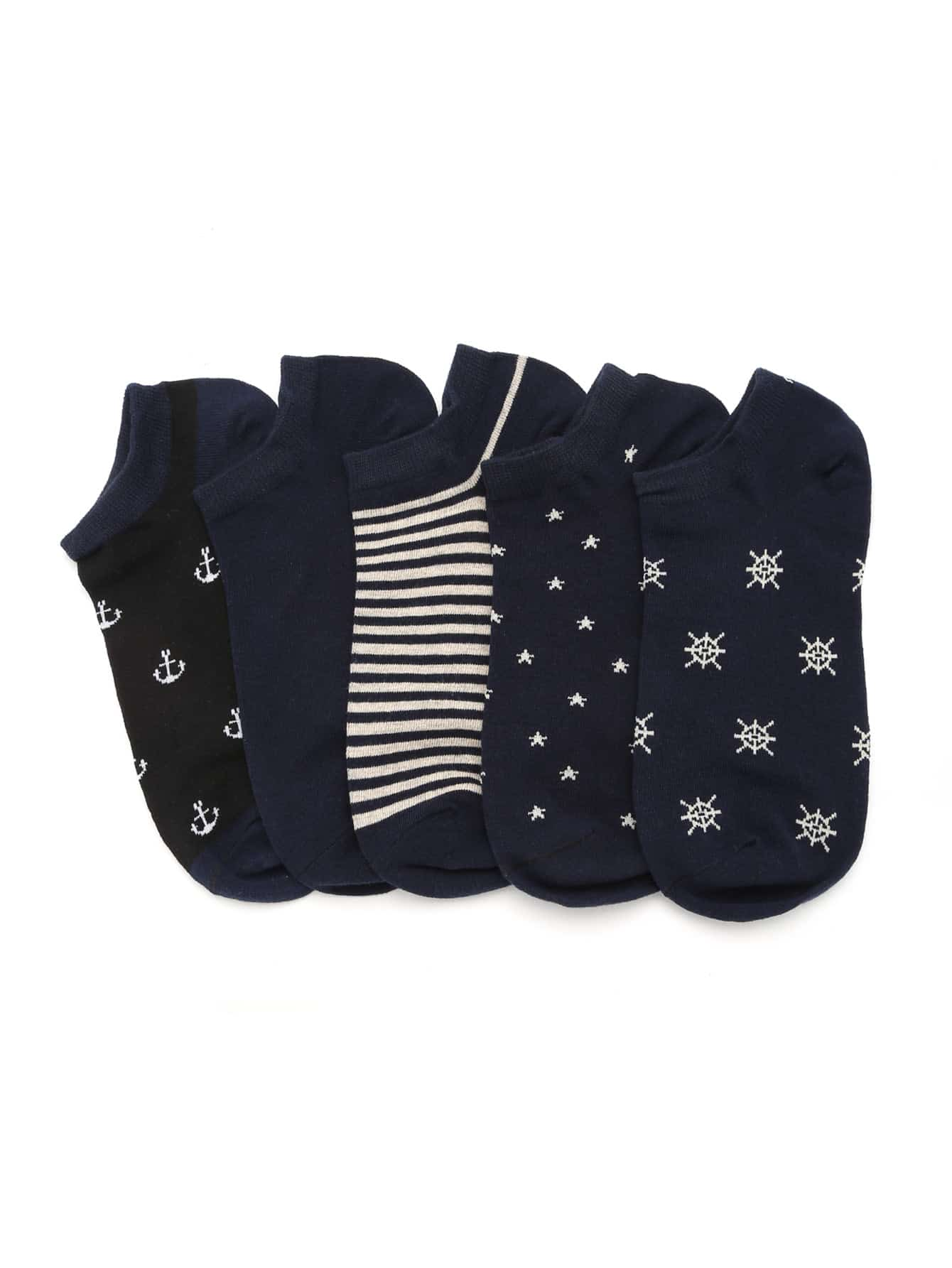 Rudder Print Invisible Socks 5 Pairs