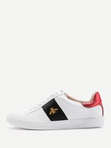 Contrast Insect Pattern Lace Up Sneakers