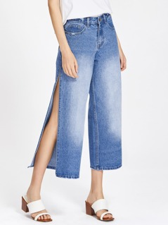 Faded Wash Split Culotte Jeans