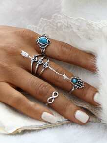 Set anillo con detalle de piedra preciosa - plateado