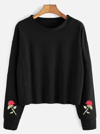 Drop Shoulder Rose Embroidered Raw Hem Sweatshirt