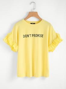 Slogan Print Shirred Ruffle Sleeve Tee