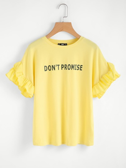 Slogan Print Shirred Ruffle Sleeve Tee