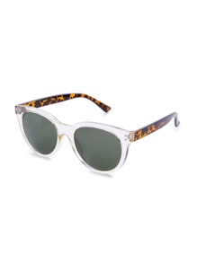 Clear Frame Leopard Temple Sunglasses