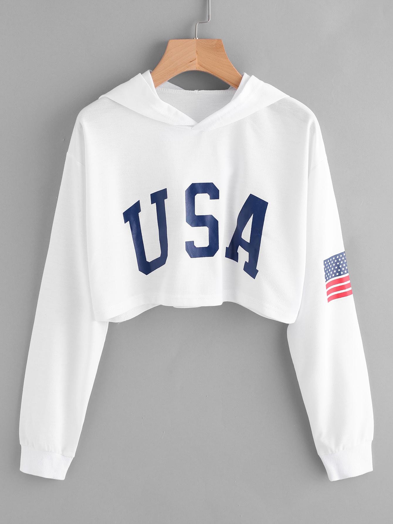 Crop Hoodie mit amerikanischem Flagge Muster