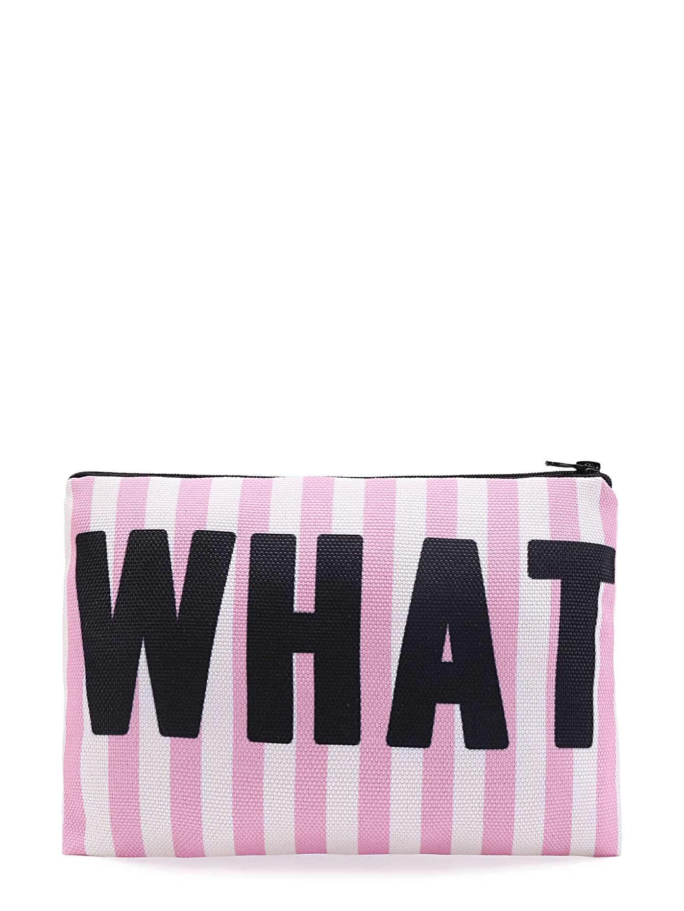 Slogan & Striped Print Zipper Cosmetic Bag