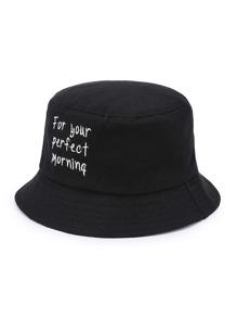 Cappello da pescatore  con ricamo di slogan